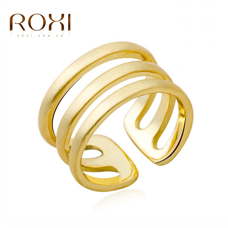 ROXI Classic Genuine Summer Gift Austrian Crystals Sample Sales Gold Color Happiness Flower Ring Fashion Jewelry