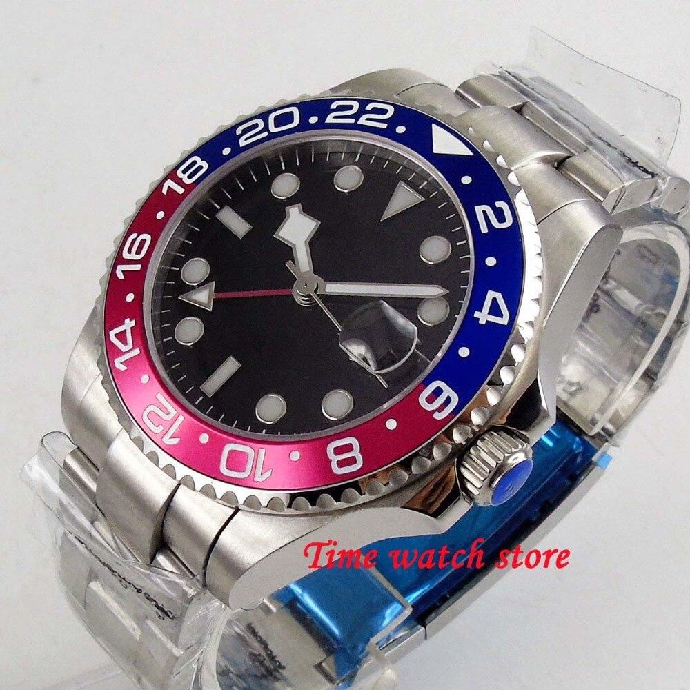Solide 40mm BLIGER montre pour hommes cadran noir neige fausse main saphir verre lumineux GMT mouvement automatique montre-bracelet 200