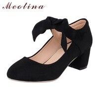 Meotina Ayakkabı Kadın Mary Jane Yay Nedensel Kalın Orta Topuklu Yuvarlak Ayak mor Ayakkabı Bayanlar Ayakkabı Kırmızı Pembe Siyah Büyük Boyutu 41 42 43