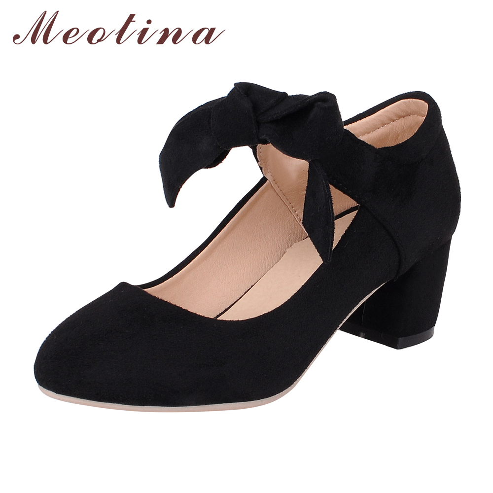 Meotina Shoes Women Mary Jane Bow Causal Thick Mid Heels Round Toe Purple Shoes Ladies Shoes Red Pink Black Large Size 41 42 43