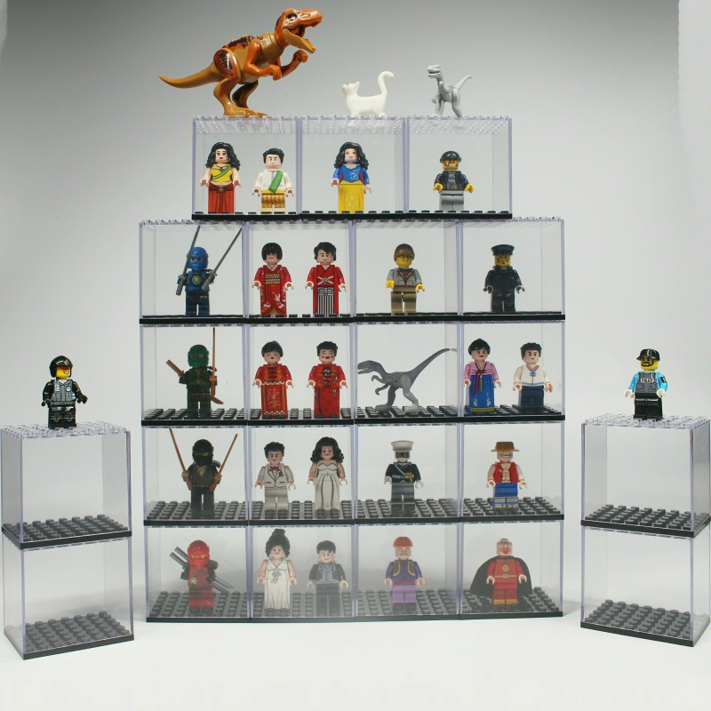 Single Sale Building Blocks Transparent Box Compatible With Known Brands Minifigs Toys For Children My World Figures