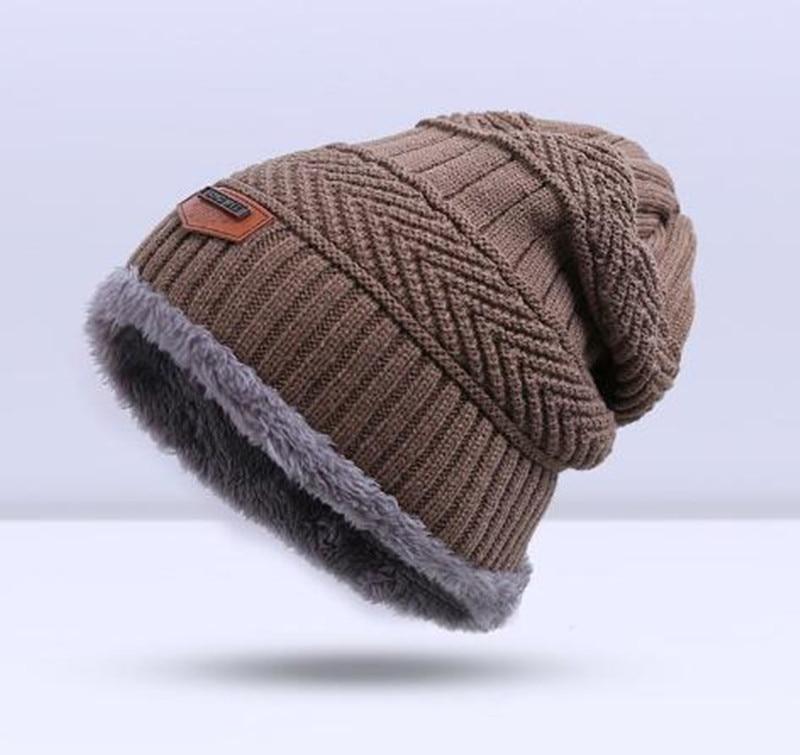 Зимняя вязаная шапка, шарф, набор, Мужская однотонная теплая шапка, шарфы, мужские зимние уличные аксессуары, шапки, шарф, 2 штуки - Цвет: Khaki2