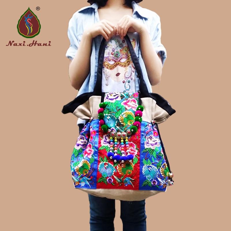 HOT Boho embroidered women handbag Vintage hmong canvas shoulder bag Fashion brand casual travel bags chinese hmong boho indian thai embroidery brand logo backpack handmade embroidered canvas ethnic travel rucksack sac a dos femme