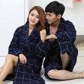 2016 Inverno quente algodão puro cetim xadrez roupões roupão Unisex engrosse longo-luva terry roupões casa ocasional sleepwear pijama