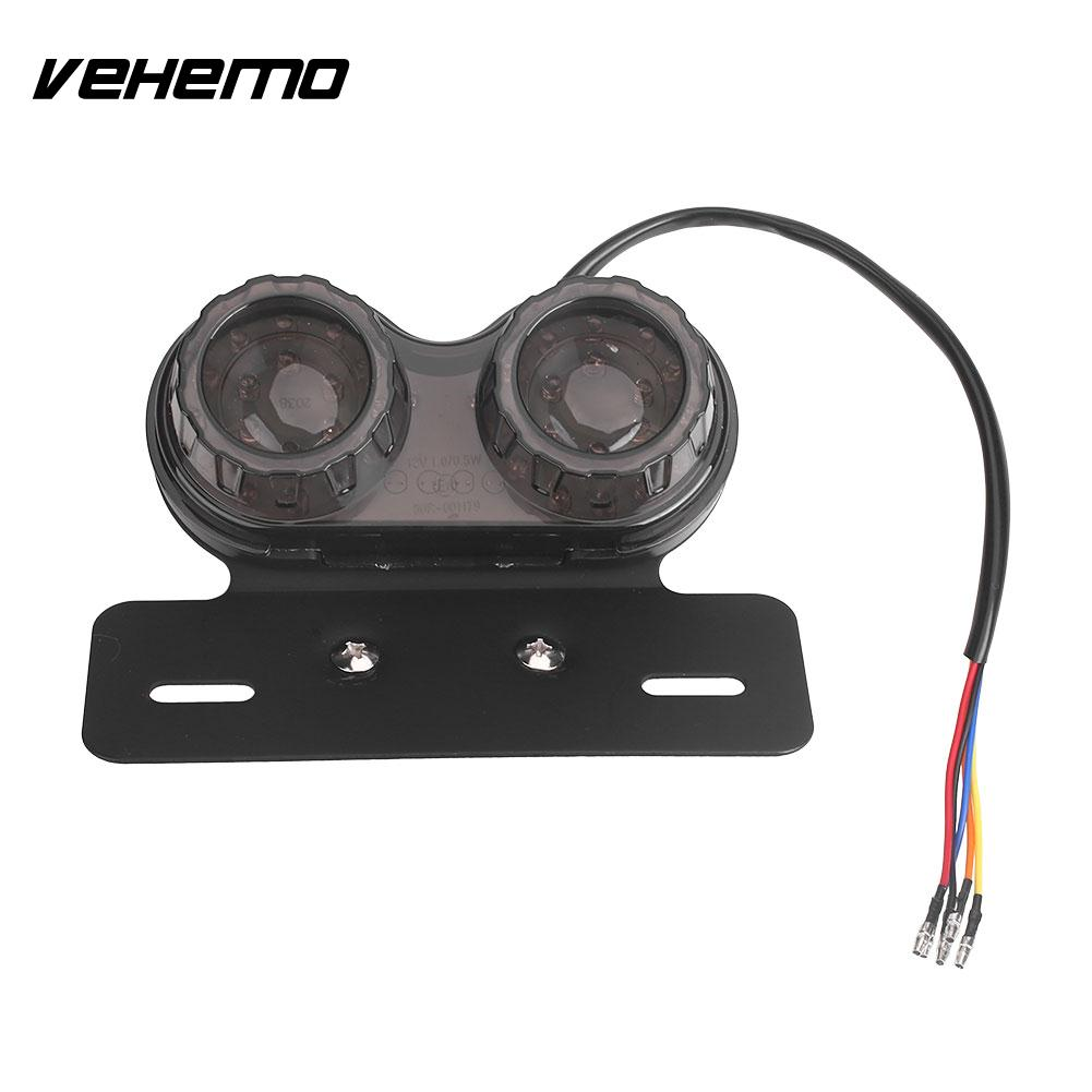 Dual LED Light Smoked Lens Premium Motorcycle Light Rear Position Lamp Integrated Tail Light Durable Twin Light