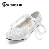Louchunlan白い結婚式の靴女性大人フラットシューズの弓バレエフラッツレースアップ靴
