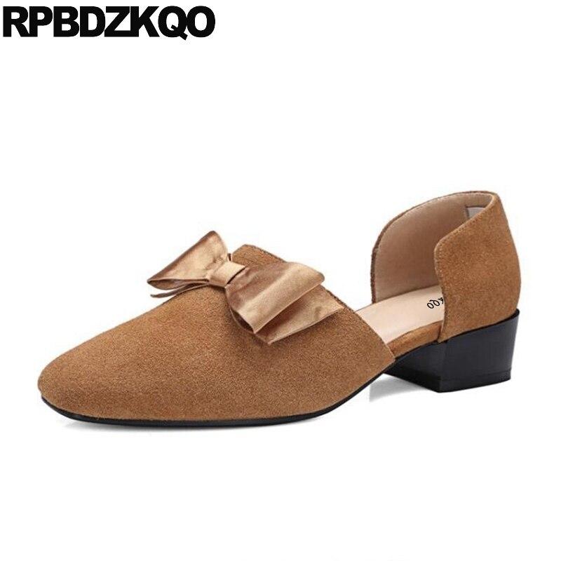 все цены на Block Closed Bow Medium Brown Dress Shoes Low Heels Sandals Suede Women Kawaii D'orsay Square Toe Pumps Genuine Leather Summer онлайн