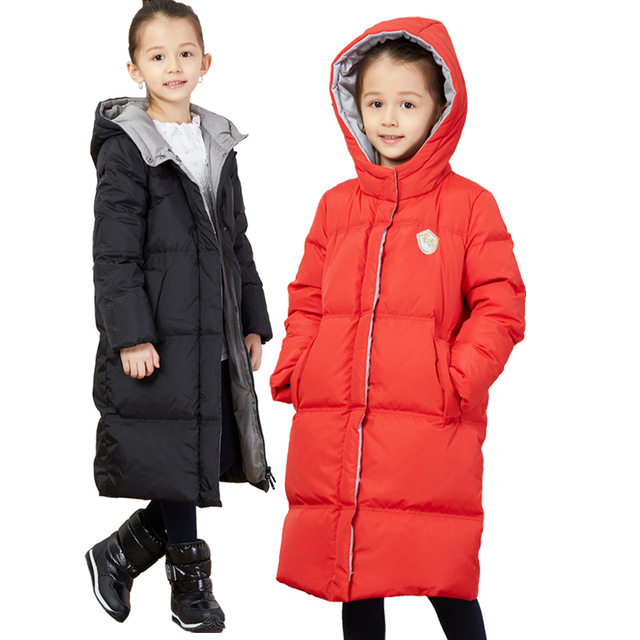 44b3d6108a13 2018 New Winter Little Girls Down Jacket Thicken Hooded Down Coat size 6 8  10 12 14 Teenage Girl Winter Clothing Children Outfit