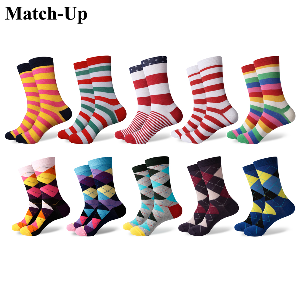Match-Up Mens Colorful Combed Cotton Socks Funny Striped Dot Multi Set Dress Casual Crew Socks (10 Pairs/lot)
