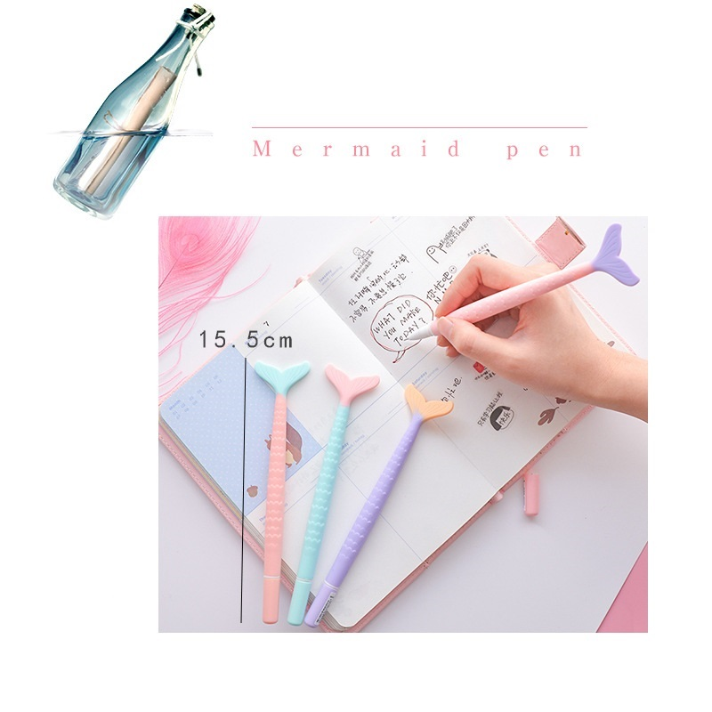4pcs Cute Mermaid gel pens Cartoon tail 0 5mm black color pen for school items Stationery Office supplies Material escolar F465 in Gel Pens from Office School Supplies