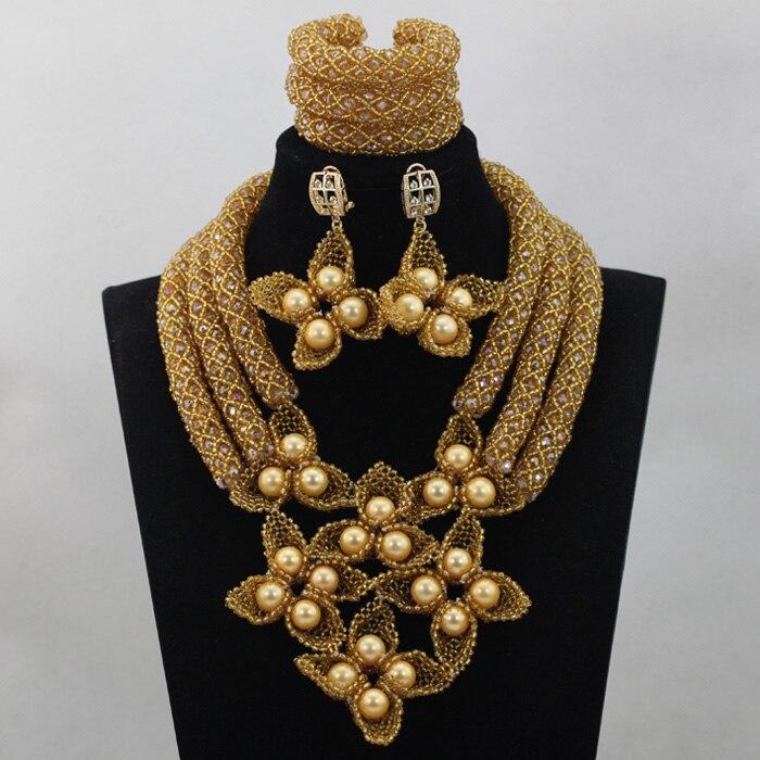 Luxe Champagne or mariée cristal bavoir déclaration collier ensemble nigérian mode bijoux ensemble pour mariage livraison gratuite WD505