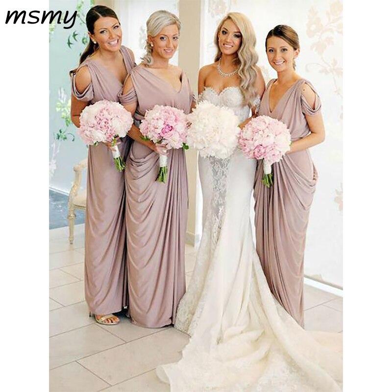 Pretty A Line Bridesmaid Dresses Sheath Cold Shoulder SleevelessCheap Long Chiffion Bridesmaid Dresses Custom Made