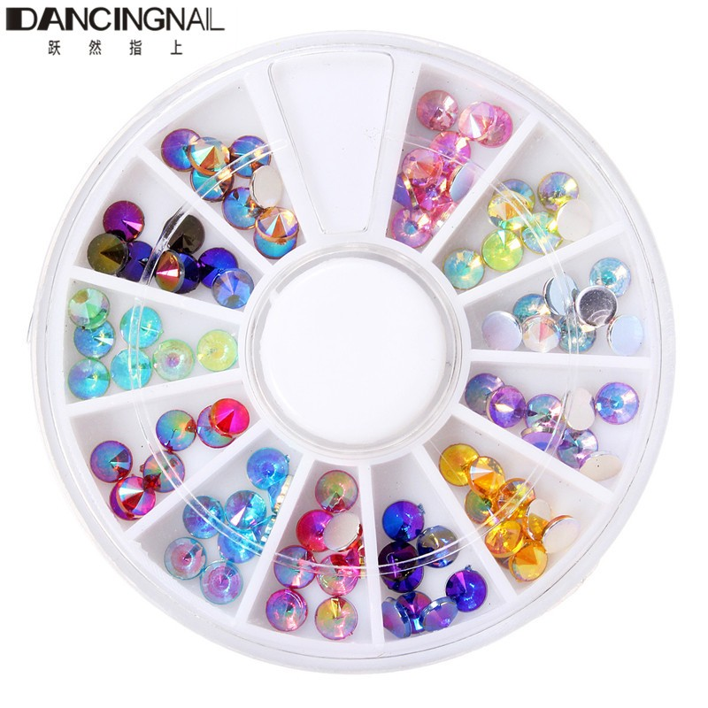 Fashion 12 Mix Color Acrylic Nail Art Rhinestones Glitter Diamond Gems 3d Design Decoration Wheel Nails Tips Decor Manicure Tool In