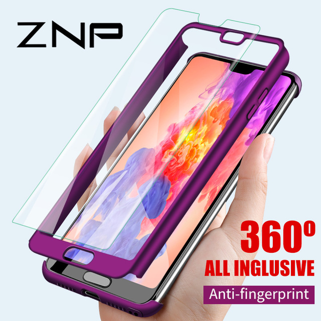 ZNP Luxury Hard 360 Full Cover Protection Case For Huawei P10 Plus P20 Pro Case For Huawei P20 P10 Lite Case With Tempered Glass