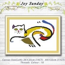 Испуганный толстый кот животные Декор узоры 14CT 11CT Счетный крест наборы для ухода за кожей вышивка набор рукоделие комплект украшения дома