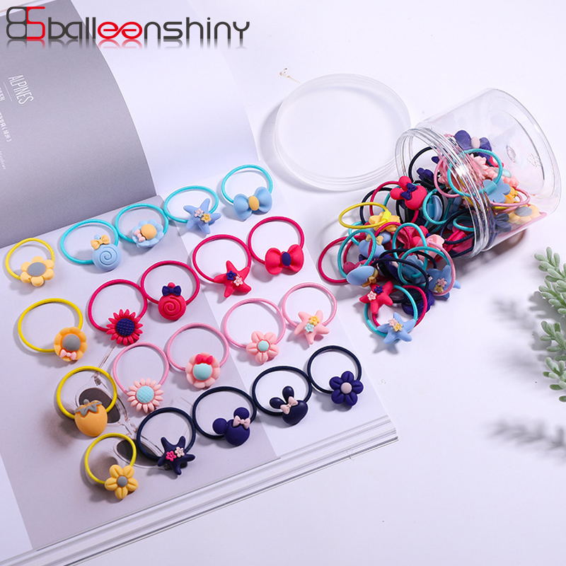 BalleenShiny 60PCS Baby Girls Hair Ropes Hair Ring Set Rubber Band Cartoon Flower Bow Princess Kids Cute Elastic   Headwear   Set