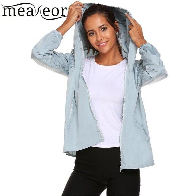 Meaneor 2018 Women Fashion Coat Hoodie Windbreaker Autumn Winter Jacket Lightweight Casual Rainwear  Activecolete feminino