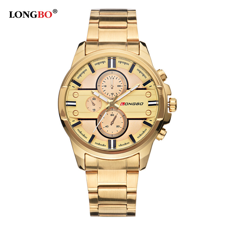 LONGBO Luxury Brand Gold Quartz Watch Men Business Stainless Steel Waterproof Mens Watches reloj hombre Dress Relogio Masculino new relogio masculino gold top luxury brand business casual quartz watch men stainless steel military watches reloj hombre hot