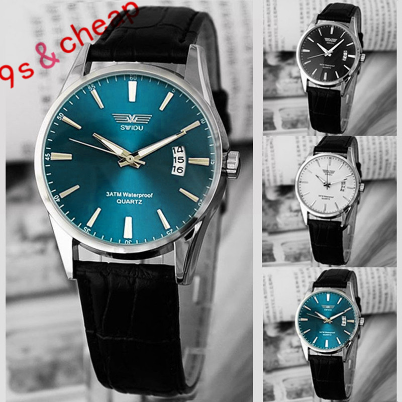 цены Classic Fashion Black Leather Strap Calendar Quartz Mens Date Wrist Watch Brand New Luxury High Quality Free Shipping #210717