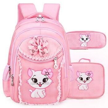 5e3d25bc5bbc Портфолио школьные рюкзаки для девочек 2019 милые Мультяшки, для принцессы  Кошка детский рюкзак для детей кружево рюкзак Начальная Школа Рюк..