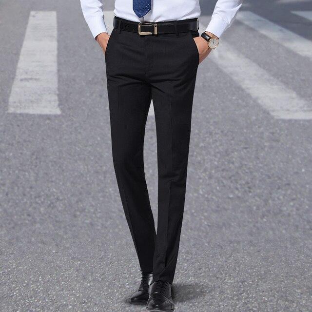 2018 Для мужчин черный Брюки Flat-Front прямые Slim-Fit Бизнес прямой мужской Мотобрюки тонкие офис носить сплошной брюки