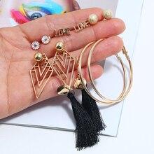 2019 6Pair/Set Fashion New Femme Flower Hoop Letter Stud Earrings & Exquisite Geometric Tassel For Women Jewelry Bijoux