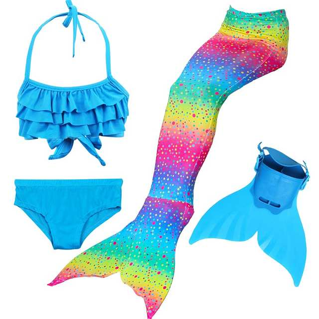 a19405a2f3ef7 Online Shop Girls 4 Colors Swimmable Mermaid Tail with Monofin Mermaid  Swimsuit Bikini Fin Kids Swimming Children Mermaid Tails Costume