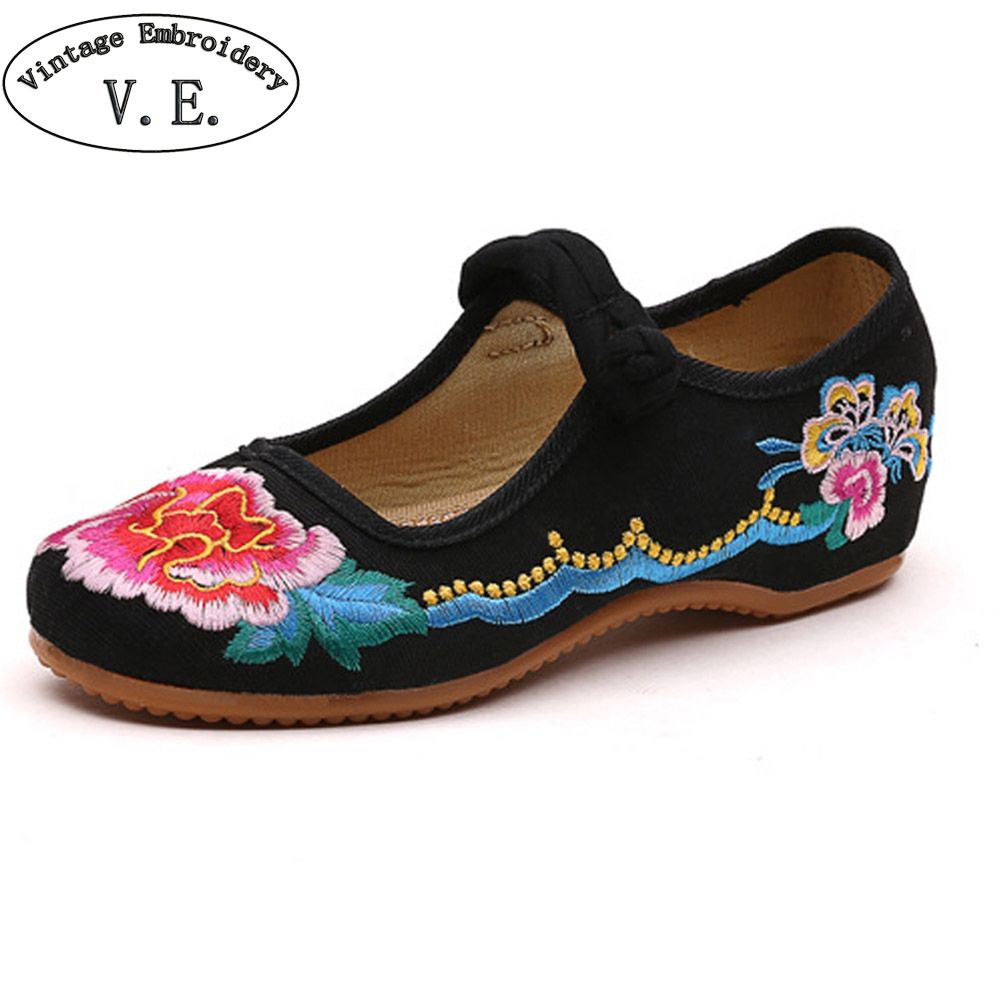 Chinese Vintage Women Shoes Flats Old BeiJing Floral Embroidery Ballets Shoes Woman Soft Ballerina Sapato Feminino weowalk 5 colors chinese dragon embroidery women s old beijing shoes ladies casual cotton driving ballets flats big size 34 41