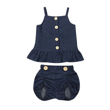 Toddler Kids Baby Girls Summer Denim Clothes Set Strap Sleeveless Tops Dress Shorts 2pcs Outfits Set