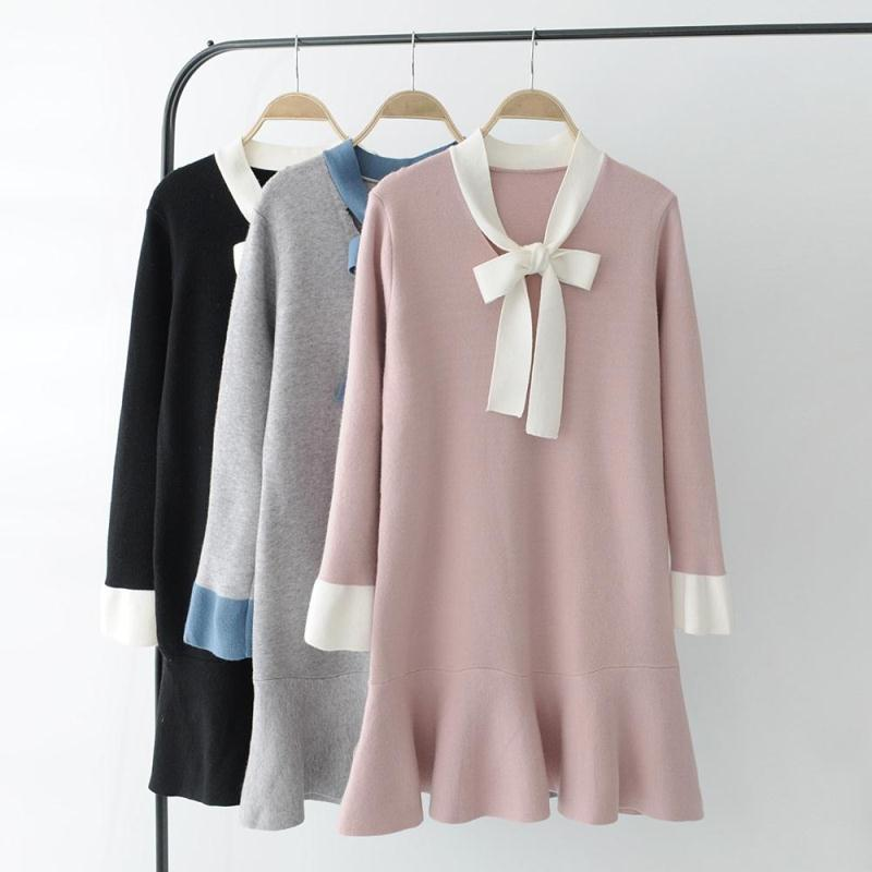Cute Dress 2017 Korean Style Fashion Bow Tie Knitted Dress Elegant Party Sweater Dress Women Casual Dresses