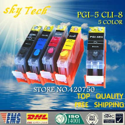 5PK Penuh tinta Isi Ulang cartridge Untuk PGI-5 CLI-8, cocok untuk canon ip3300 ip4200 ip4300 mp500 mp800 ix4000 dll, dengan chip ARC