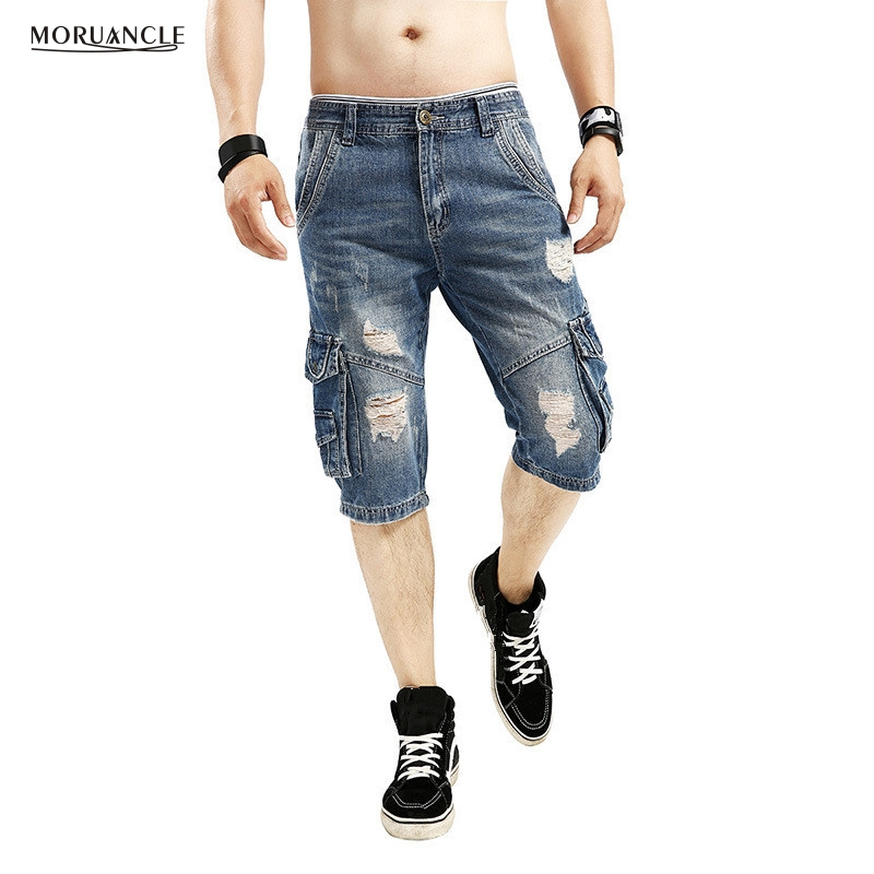 MORUANCLE Men's Baggy Ripped Cargo Jean Shorts Male Vintage Loose Distressed Denim Shorts Multi Pockets Washed Plus Size 29-40 moruancle men s baggy cargo jeans pants loose straight tactical denim trousers for big and tall size 29 46 side zipper pockets