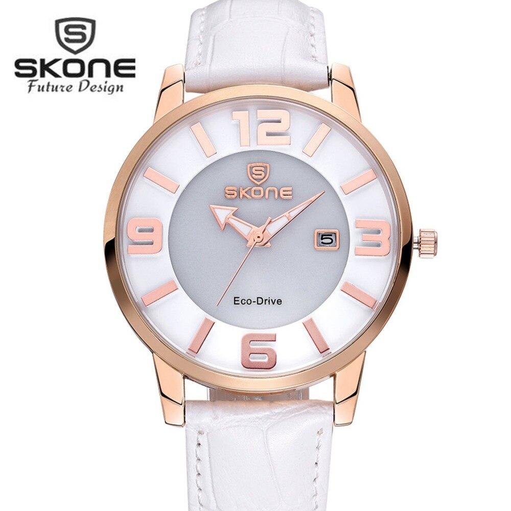 SKONE Fashion Eco-drive Solar Watches Women Brand Luxury Dress Quartz Watch Ladies Leather Watch Relogio Feminino Hodinky XFCS skone relogio 9385