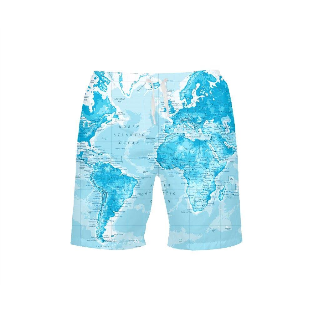VEEVAN Men's   Board     Shorts   Fashion World Map 3D Printing Beach   Shorts   Surfing Trunks Breathable Casual   Shorts     Short   Swim Trunks