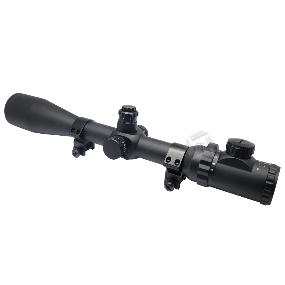 Mcoplus 6-24 x <font><b>50</b></font> <font><b>mm</b></font> 1/8MOA IR Red , Green and Blue Illuminated Optics Fire Hunting Scope with 2 free Mount for Hunting image