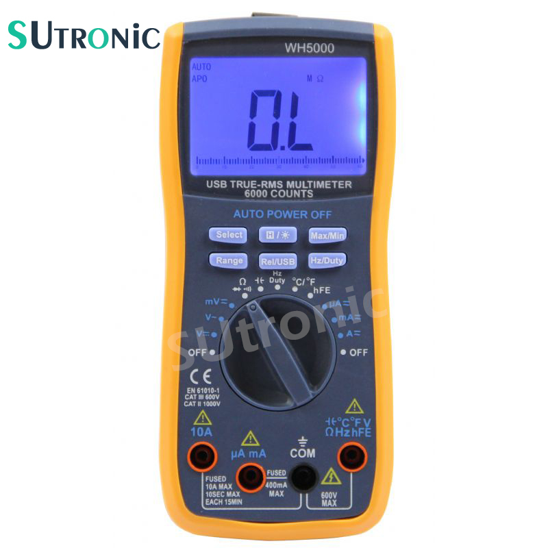 WH5000 Digital Multimeter 5999 Counts with USB Interface Auto Range with Backlight Magnet hang  AC DC Ammeter Voltmeter Ohm new original hf kp13 100w 3000r min ac servo motor