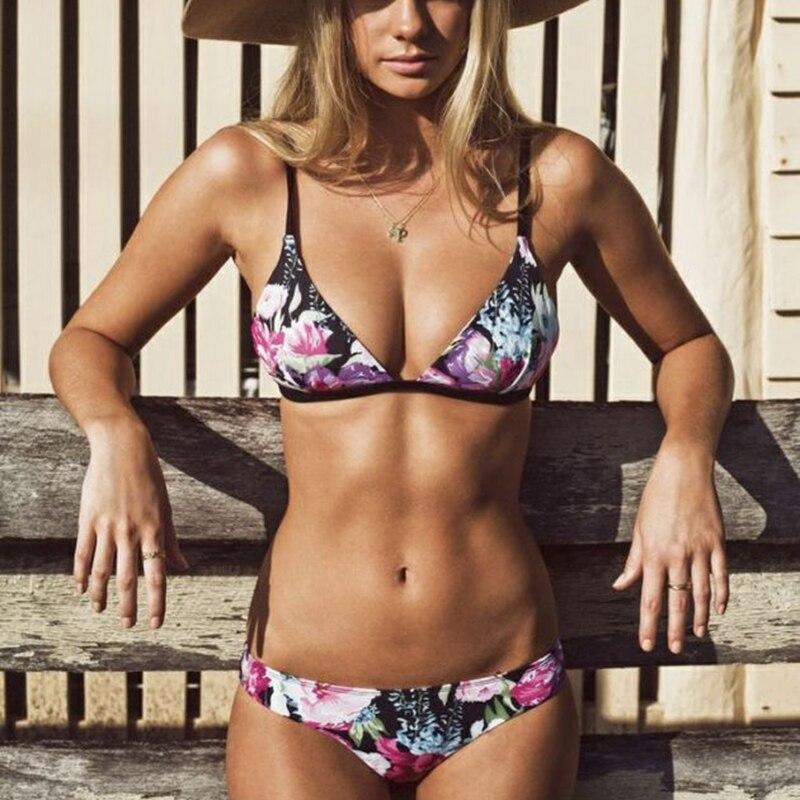 stampa floreale perizoma bikini 2016 fasciatura top sexy costume da bagno nero femal beachwear fasciatura delle