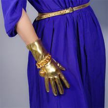 2019 New Patent Leather Gloves 28cm Long Keep Warm Emulation Leather Women Gloves Mirror Bright Leather Bright Gold Female WPU19 bright warm 90
