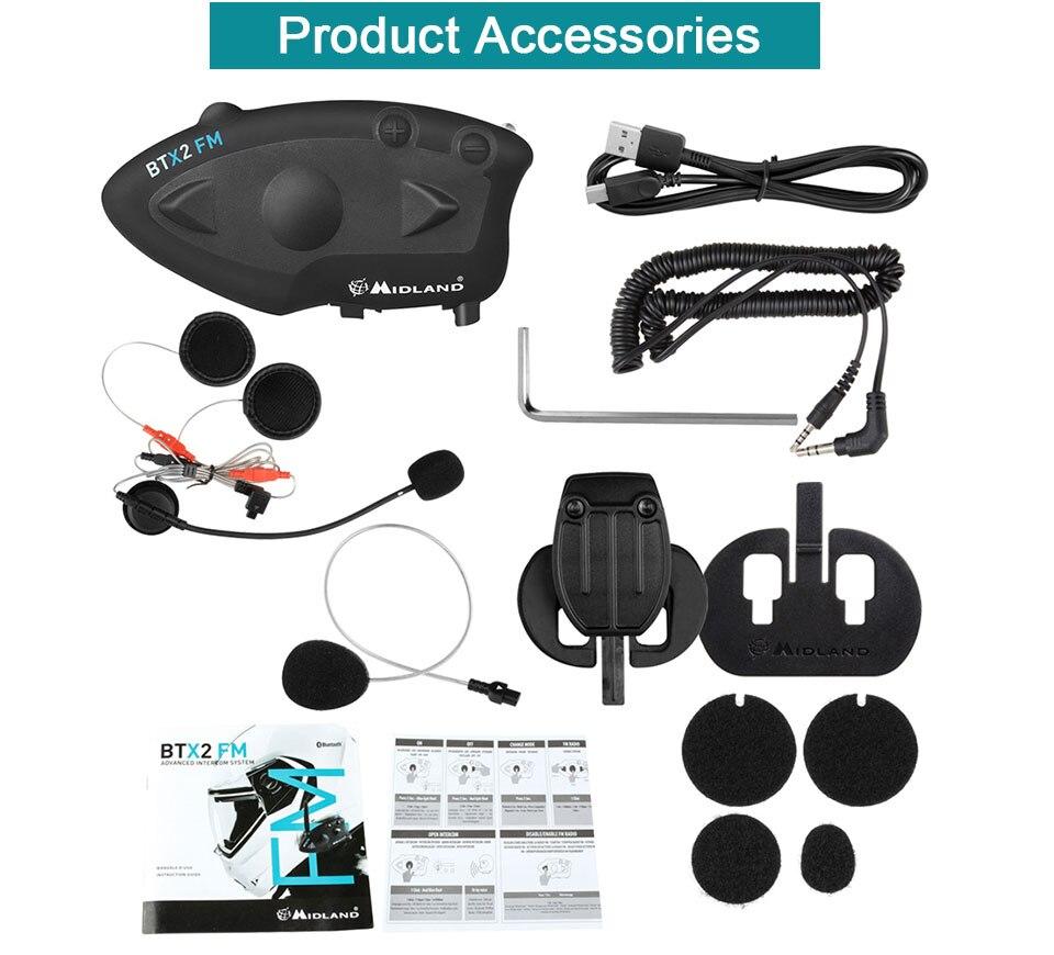 MIDLAND BTX2 FM Motorcycle Helmet Intercom Bluetooth Helmet Headset Motorbike 800M BT Interphone Intercomunicador Moto