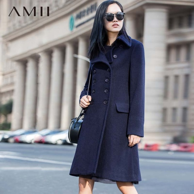 Amii Casual mujer abrigo de lana de invierno de 2018 sólido Slim Breasted doble giro-abajo Collar de lana mezcla