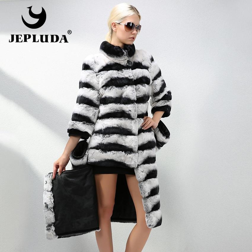 JEPLUDA lujo mujeres estilo largo Natural Real Rex Rabbit Fur Coat cambiable manga Hem longitud Real abrigo de pieles caliente chaqueta