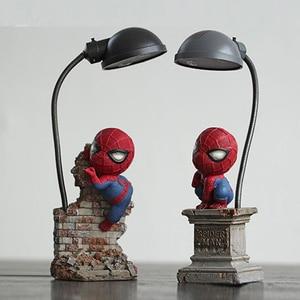 Image 3 - Super Spiderman Avengers Union 3 Led Nacht Licht Harz Handwerk kinder Home Desktop Tisch Lampe Figuren Geburtstag Weihnachten Hochzeit geschenke