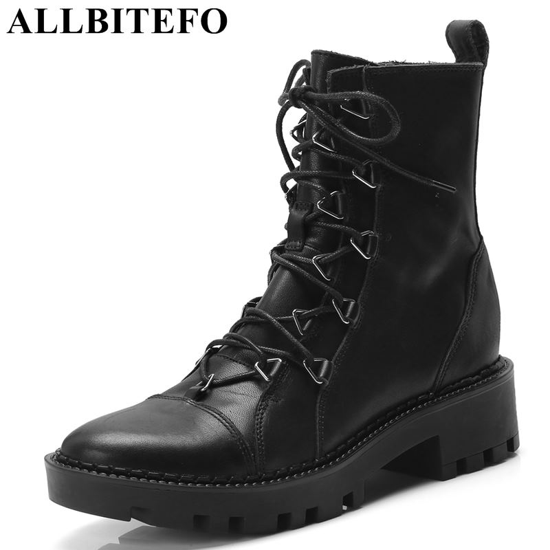 ALLBITEFO fashion brand genuine leather thick heel platform women boots high heels ankle boots women martin boots girls shoes стоимость