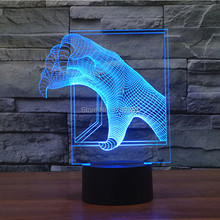 Free Ship 7 Color Changing Jurassic Park Tyrannosaurs rex Claw 3D LED Night Light USB Decorative Table Lamp Desk Lighting