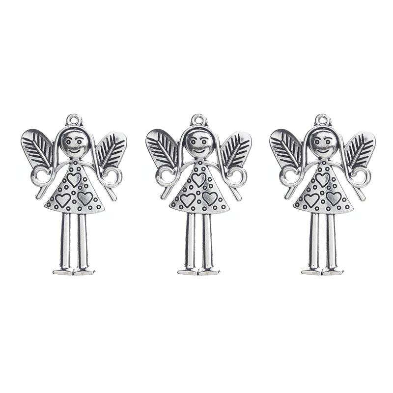5 шт./партия, модные цветочные сказочные подвески, подвеска, античный серебряный тон, подвески на брелки для ключей для ювелирных изделий, 37*58 мм