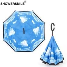 SHOWERSMILE Inverted Umbrella Print Rain Protection UV Folding Reverse Umbrella Double Layer C-Hook Car Umbrellas For Women Men