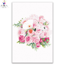 plant flower oil painting rose picture by numbers canvas draw coloring flowers with paint kits frame wall decor