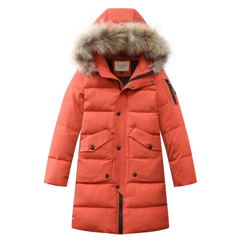 winter jackets for boys kids thick hooded real fur collar jacket children warm outerwear duck down boy Parkas clothing