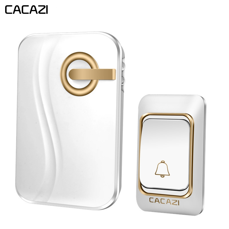 CACAZI Wireless Doorbell DC battery-operated Waterproof 1 Button 1 2 Receiver 200M Remote Smart Home Cordless door bell chimeCACAZI Wireless Doorbell DC battery-operated Waterproof 1 Button 1 2 Receiver 200M Remote Smart Home Cordless door bell chime