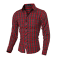 Fashion Mens Luxury Slim Fit Dress Casual Shirts Long Sleeve Plaid Lattice Plus Single Breasted Men Shirt Brand Clothing A50